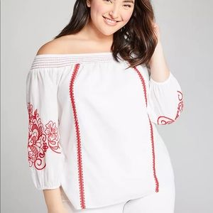 Lane Bryant Embroidered Off-The-Shoulder Top